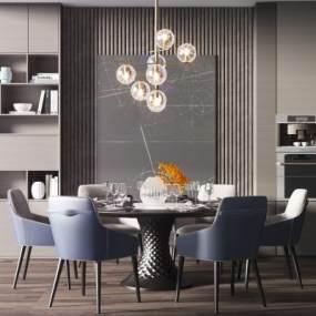 現代餐桌椅組合3D模型【ID:734820133】