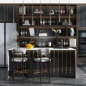 现代吧台吧椅酒柜冰箱厨房摆件组合3D模型【ID:935631266】