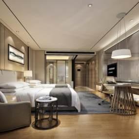 新中式酒店客房3D模型【ID:734494335】