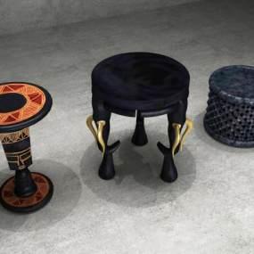 东南亚非洲桌椅组合3D模型【ID:934845552】