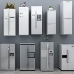 现代冰箱组合3D模型【ID:230499699】