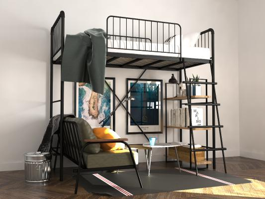 铁艺上下床高架床