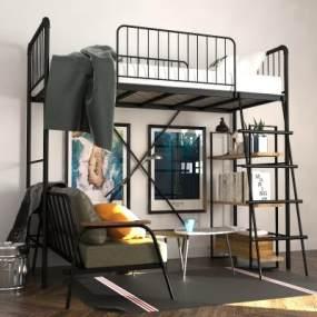 鐵藝上下床高架床3D模型【ID:847097602】