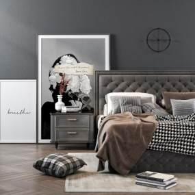 美式雙人床床頭柜組合3D模型【ID:643893130】