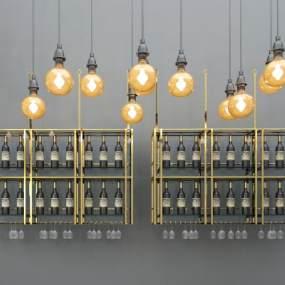 现代金属酒架吊灯组合3D模型【ID:130571160】