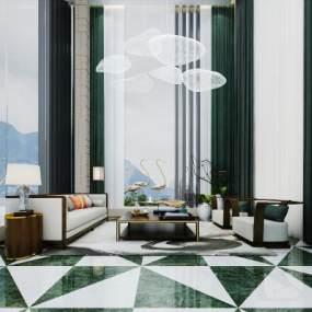 新中式酒店接待大厅 3D模型【ID:742133097】