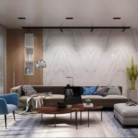 北欧简约风客厅沙发茶几组合3D模型【ID:550679038】