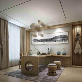 新中式茶室茶桌3D模型【ID:636044120】