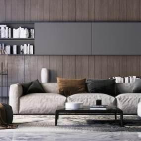 现代沙发茶几组合3D模型【ID:642538577】