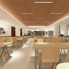 现代食堂餐厅3D模型【ID:634395972】