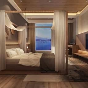 新中式民宿酒店客房3D模型【ID:735824336】