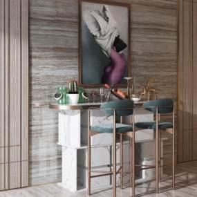 现代吧台吧椅组合3D模型【ID:953020255】