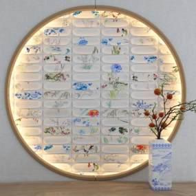 新中式青花瓷背景墙3D模型【ID:236020713】