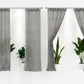 现代窗帘窗纱模型3D模型【ID:231976601】