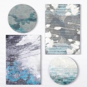 新中式地毯绒毛地毯蓝地毯3D模型【ID:330591290】