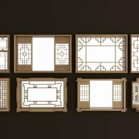 新中式实木花格镂花窗3D模型【ID:331297295】
