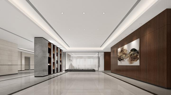 現代辦公過廳3D模型【ID:944861577】