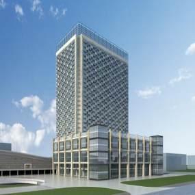 现代石材玻璃办公楼3D模型【ID:152995918】
