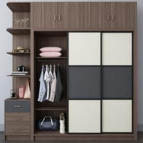 現代實木衣柜3D模型【ID:134327409】