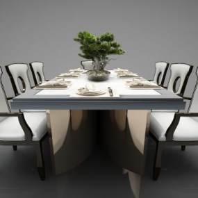新中式風格餐桌3D模型【ID:844004830】