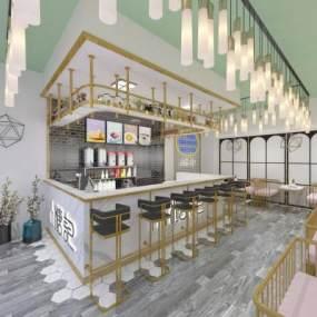 现代北欧轻奢奶茶甜品店3D模型【ID:646938426】