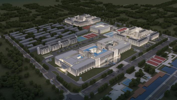 現代鳥瞰建筑夜景3D模型【ID:233683075】
