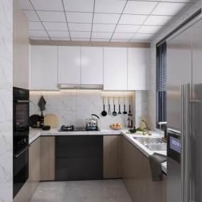 現代廚房3D模型【ID:552526349】