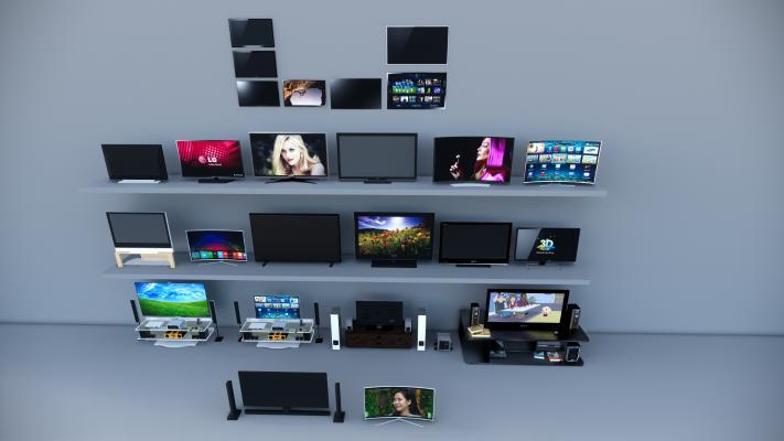 現代電視機組合SU模型【ID:646172977】