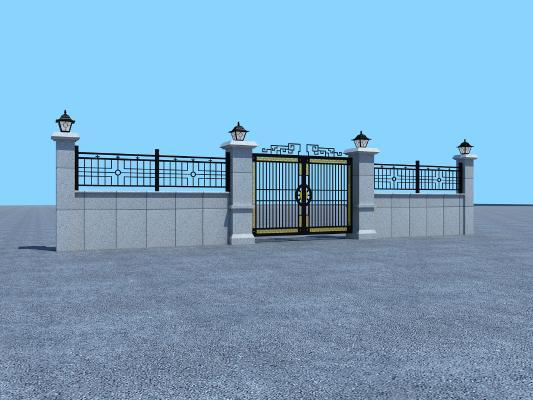 新中式大门3D模型【ID:145995761】