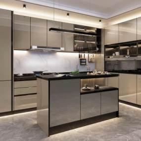 现代厨房3D模型【ID:535530363】