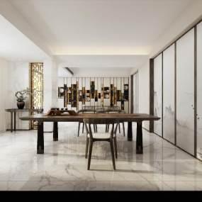 新中式茶室空间3D模型【ID:636244113】