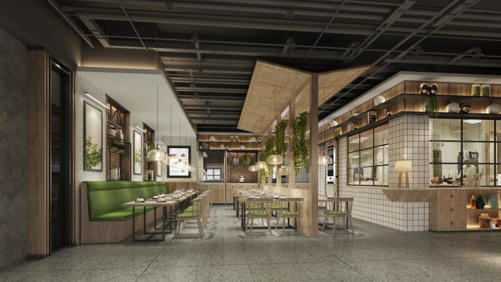 北欧现代简约餐厅木制餐桌椅3D模型【ID:148050277】