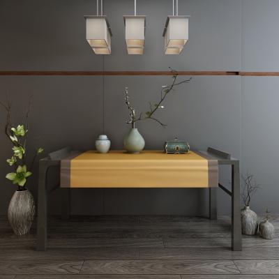 新中式条案 书桌 吊灯 摆件