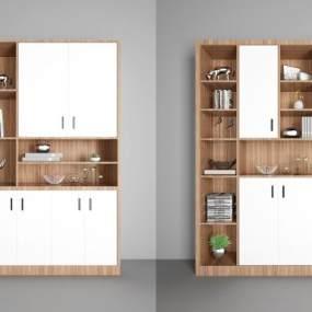 酒柜书柜装饰柜组合3D模型【ID:130426507】
