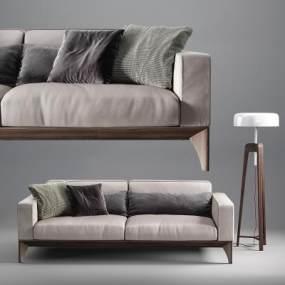 现代皮革双人沙发落地灯组合3D模型【ID:636089519】