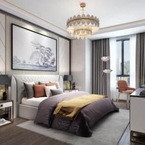 现代轻奢样板房卧室3D模型【ID:533058239】