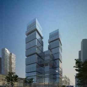 现代户外商业楼群建筑3D模型【ID:132169938】