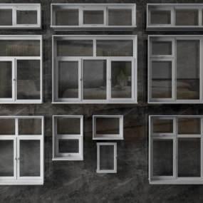 现代窗户平开窗3D模型【ID:335120226】