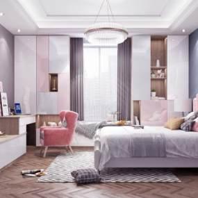 现代轻奢卧室3D模型【ID:554053233】