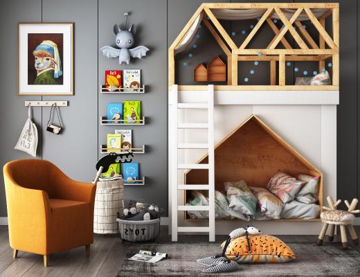 现代儿童床组合3D模型【ID:652772119】