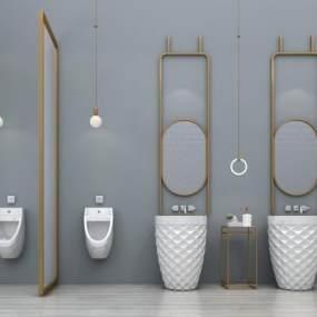 现代洗手台洗手柜小便斗卫浴用品3D模型【ID:635523440】