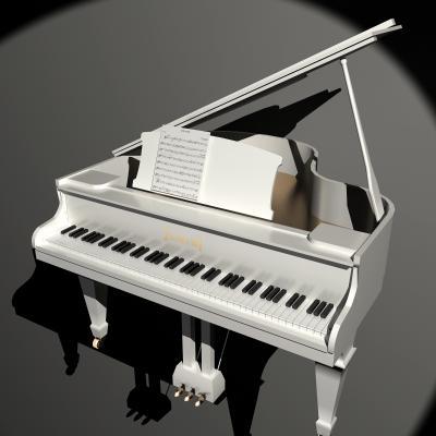 白色鋼琴木制鋼琴樂器3D模型【ID:332549989】