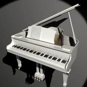 白色钢琴木制钢琴乐器3D模型【ID:332549989】