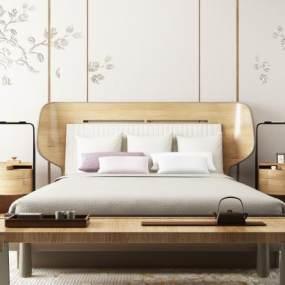 新中式双人床皮雕背景组合365彩票【ID:835471750】