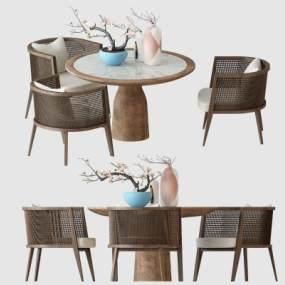 新中式戶外桌椅 3D模型【ID:841862903】