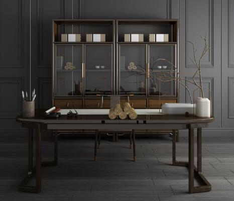新中式实木书桌椅 书柜 书架组合