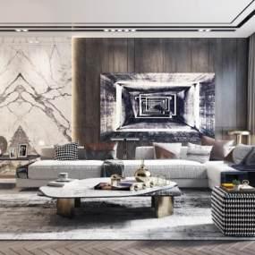 现代轻奢沙发茶几组合3D模型【ID:636207701】