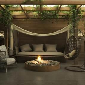 现代室外休息室3D模型【ID:135278442】