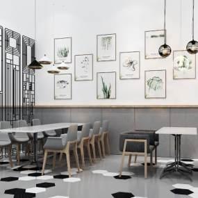现代餐厅餐桌椅组合3D模型【ID:630939258】