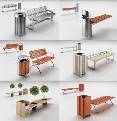 现代长椅排椅公园长椅组合